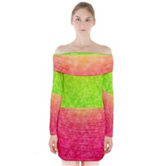 Colorful Abstract Triangles Pattern  Long Sleeve Off Shoulder Dress