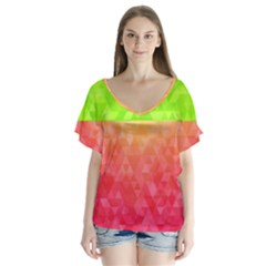 Colorful Abstract Triangles Pattern  Flutter Sleeve Top