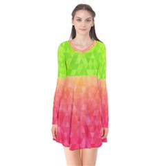 Colorful Abstract Triangles Pattern  Flare Dress