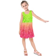 Colorful Abstract Triangles Pattern  Kids  Sleeveless Dress