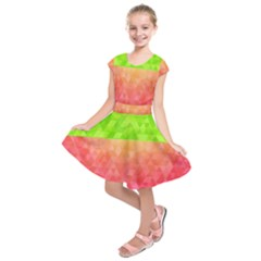 Colorful Abstract Triangles Pattern  Kids  Short Sleeve Dress