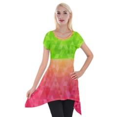 Colorful Abstract Triangles Pattern  Short Sleeve Side Drop Tunic