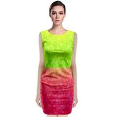 Colorful Abstract Triangles Pattern  Sleeveless Velvet Midi Dress