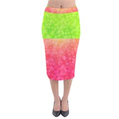 Colorful Abstract Triangles Pattern  Velvet Midi Pencil Skirt