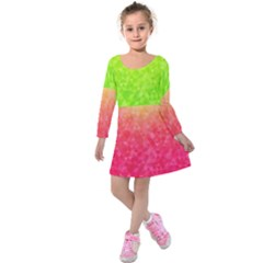 Colorful Abstract Triangles Pattern  Kids  Long Sleeve Velvet Dress