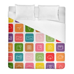 Icons Vector Duvet Cover (full/ Double Size)