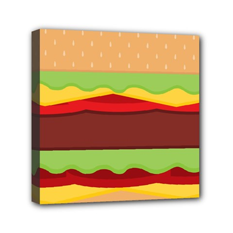 Vector Burger Time Background Mini Canvas 6  X 6