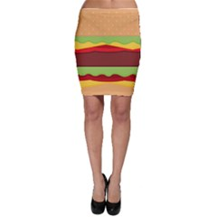 Vector Burger Time Background Bodycon Skirt