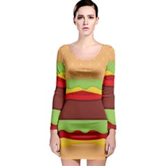 Vector Burger Time Background Long Sleeve Bodycon Dress