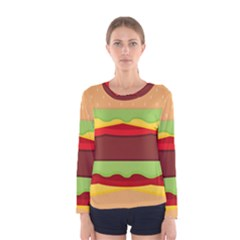 Vector Burger Time Background Women s Long Sleeve Tee