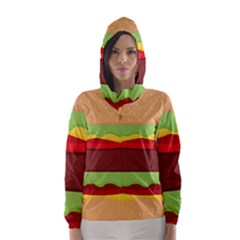 Vector Burger Time Background Hooded Wind Breaker (women)