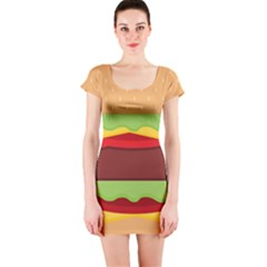 Vector Burger Time Background Short Sleeve Bodycon Dress