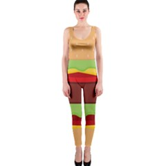 Vector Burger Time Background OnePiece Catsuit