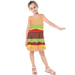 Vector Burger Time Background Kids  Sleeveless Dress