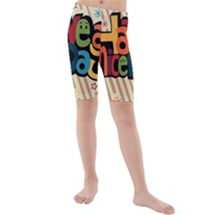 Have A Nice Happiness Happy Day Kids  Mid Length Swim Shorts
