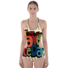 Have A Nice Happiness Happy Day Cut-Out One Piece Swimsuit