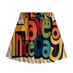 Have A Nice Happiness Happy Day Mini Flare Skirt