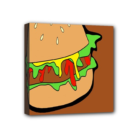 Burger Double Mini Canvas 4  X 4