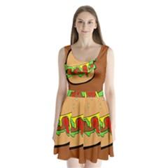 Burger Double Split Back Mini Dress