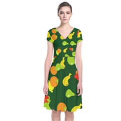 Seamless Tile Background Abstract Short Sleeve Front Wrap Dress