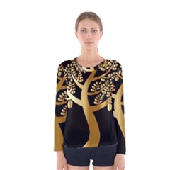 Abstract Art Floral Forest Women s Long Sleeve Tee