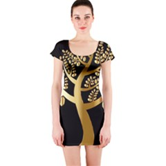 Abstract Art Floral Forest Short Sleeve Bodycon Dress