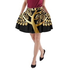 Abstract Art Floral Forest A Line Pocket Skirt