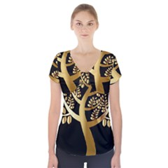 Abstract Art Floral Forest Short Sleeve Front Detail Top