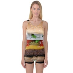 Abstract Barbeque Bbq Beauty Beef One Piece Boyleg Swimsuit