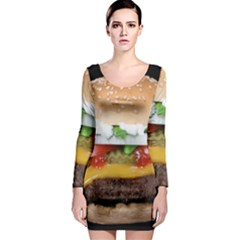Abstract Barbeque Bbq Beauty Beef Long Sleeve Bodycon Dress
