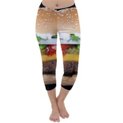 Abstract Barbeque Bbq Beauty Beef Capri Winter Leggings
