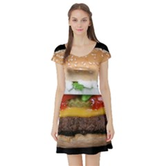 Abstract Barbeque Bbq Beauty Beef Short Sleeve Skater Dress