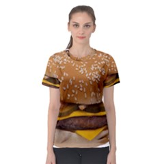 Cheeseburger On Sesame Seed Bun Women s Sport Mesh Tee