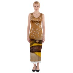 Cheeseburger On Sesame Seed Bun Fitted Maxi Dress