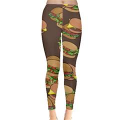 A Fun Cartoon Cheese Burger Tiling Pattern Leggings