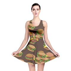 A Fun Cartoon Cheese Burger Tiling Pattern Reversible Skater Dress