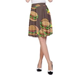 A Fun Cartoon Cheese Burger Tiling Pattern A-Line Skirt