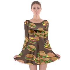 A Fun Cartoon Cheese Burger Tiling Pattern Long Sleeve Skater Dress