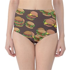A Fun Cartoon Cheese Burger Tiling Pattern High-Waist Bikini Bottoms