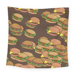A Fun Cartoon Cheese Burger Tiling Pattern Square Tapestry (large)