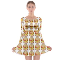 Hamburger Pattern Long Sleeve Skater Dress