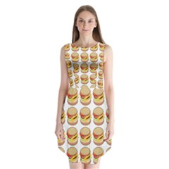 Hamburger Pattern Sleeveless Chiffon Dress