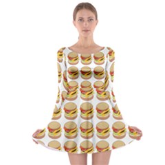 Hamburger Pattern Long Sleeve Skater Dress