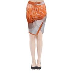 Abstract Angel Bass Beach Chef Midi Wrap Pencil Skirt