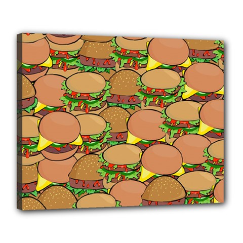 Burger Double Border Canvas 20  X 16