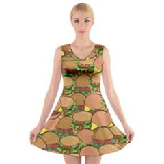 Burger Double Border V Neck Sleeveless Skater Dress