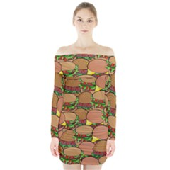 Burger Double Border Long Sleeve Off Shoulder Dress
