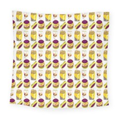 Hamburger And Fries Square Tapestry (large)