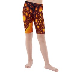 Bubbles Abstract Art Gold Golden Kids  Mid Length Swim Shorts