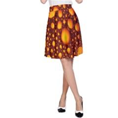 Bubbles Abstract Art Gold Golden A-Line Skirt